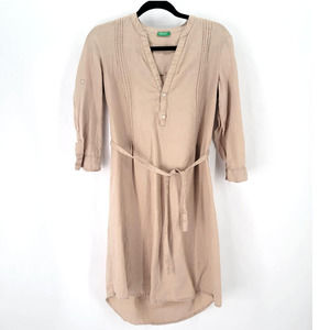 United colors of Benetton linen dress small beige